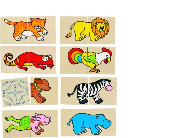 Memospiel und Puzzle lustige Tiere