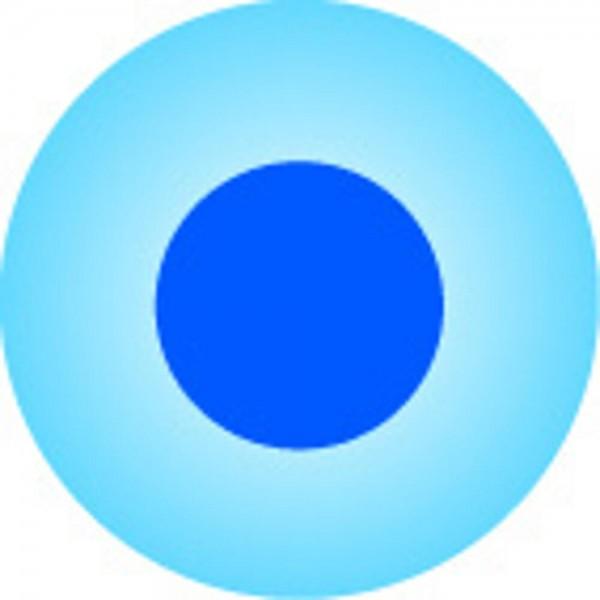Clickhalbperle azurblau mit blauem Punkt