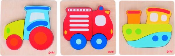 Goki Einlegepuzzle Traktor, Boot, Feuerwehr aus Holz