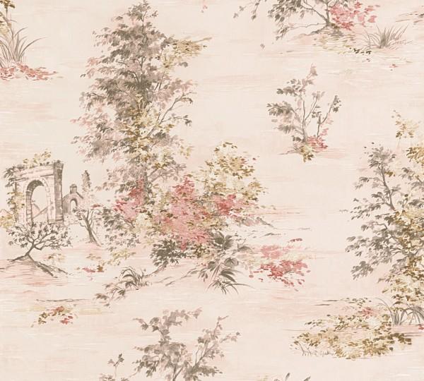 A.S. Création, Romantica 3, # 304292, Vliestapete, floral, Creme Grün Rot
