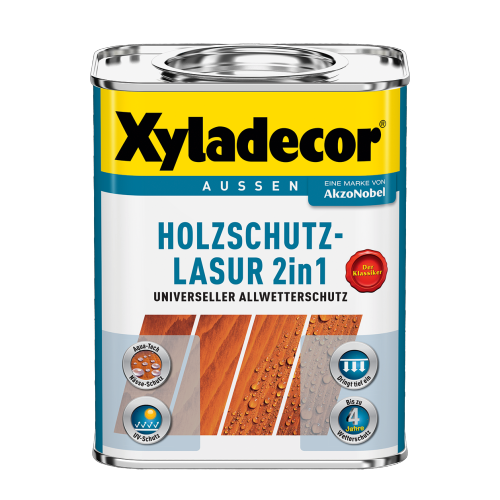Xyladecor - 2in1 Holzschutz-Lasur 2,5l universeller Allwetterschutz , eiche