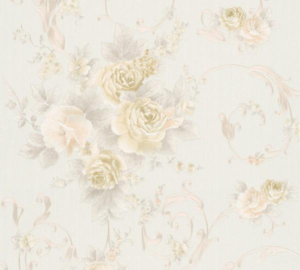 A.S. Création, Romantica 3, # 306471, Vliestapete, Blumen, Creme Grün Rosa