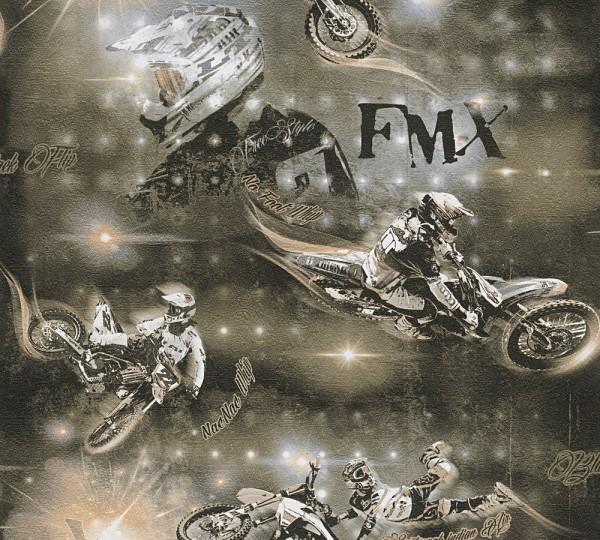 A.S. Création, Boys & Girls 6, # 306562, Kindertapete aus Papier, Motorrad, Beige Metallic Schwarz
