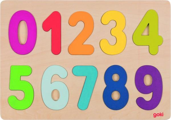 GOKI Einlegepuzzle Zahlen 0-9 aus Holz
