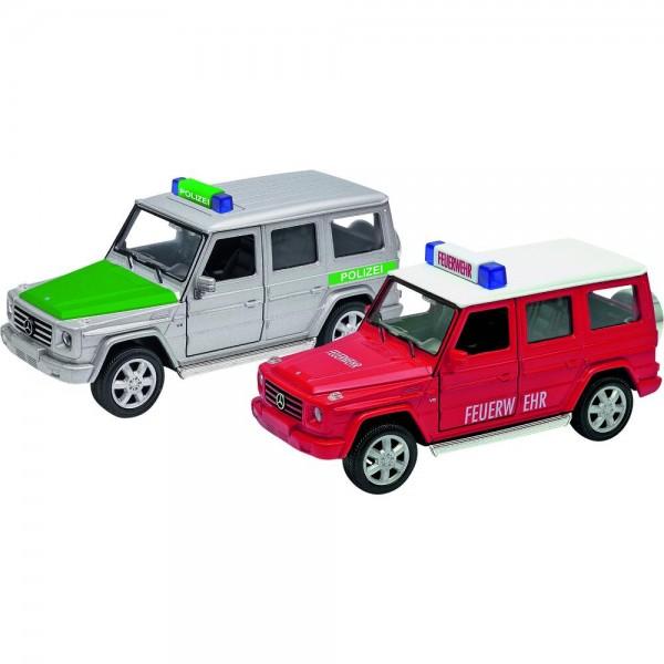 GOKI Polizei und Feuerwehr Mercedes Benz G, 1:32, L= 13,5 cm