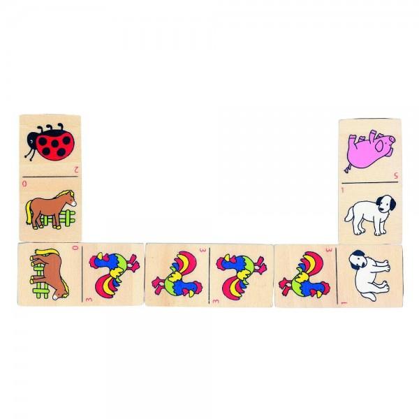 Domino mit Tiermotiven im Holzkasten