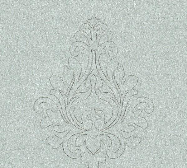A.S. Création, Nobile, bestickte Tapete, # 969825, Vliestapete, Grau Metallic, 3,20 m x 0,70 m