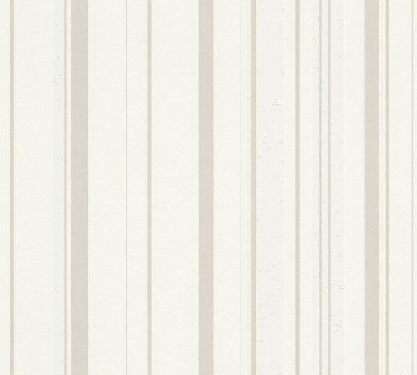 A.S. Création, New Look, # 327691, Vliestapete, Streifen, Creme Weiß