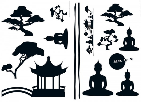 Wiesemann Wall-Sticker / Wandtattoo Asian Feeling 14 teilig, Vinyl