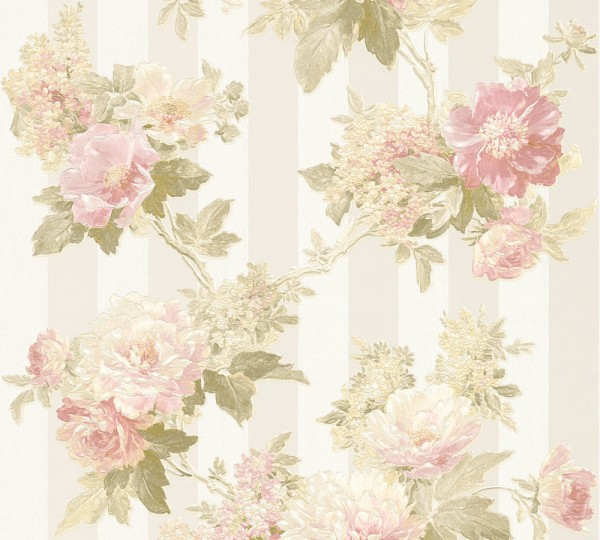 A.S. Création, Romantica 3, # 304461, Vliestapete, floral, Creme Grau Rosa