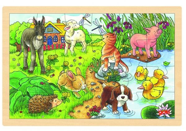 GOKI - Einlegepuzzle Tierkinder II