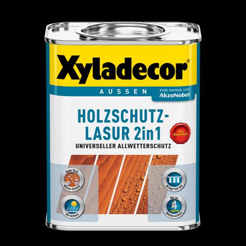 Xyladecor - 2in1 Holzschutz-Lasur 2,5 L Kanister, universeller Allwetterschutz , Teak