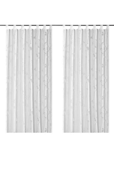 Elbersdruck - Schlaufenschal - Floral Valverde 001 - weiß - halbtransparent - # 179304