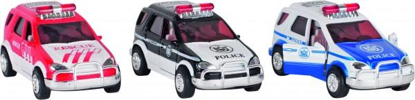 Polizei und Feuerwehr mit Sirene + Licht, L= 13 cm