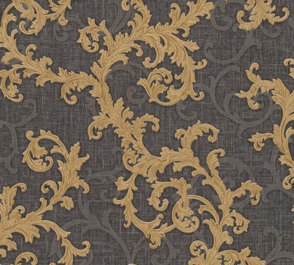 A.S. Création, Versace 2, # 962316, Vliestapete, Grau Metallic Schwarz, 10,05 m x 0,70 m