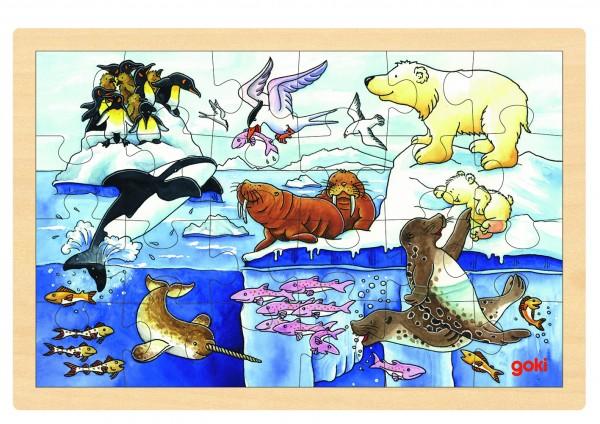 GOKI - Einlegepuzzle Polartiere - Holzpuzzle