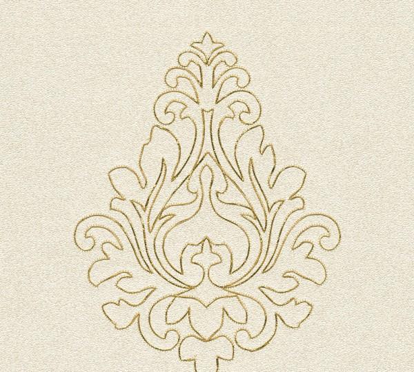 A.S. Création, Nobile, bestickte Tapete, # 969821, Vliestapete, Creme Metallic, 3,20 m x 0,70 m
