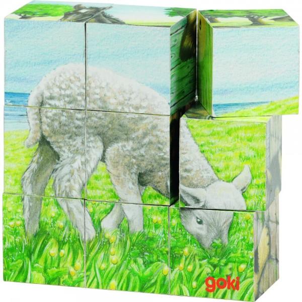 GOKI - Würfelpuzzle Bauernhoftiere
