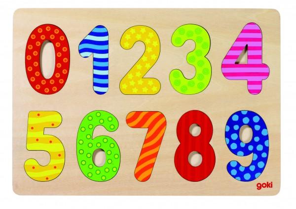 GOKI - Einlegepuzzle Zahlen 0-9 - Holzpuzzle