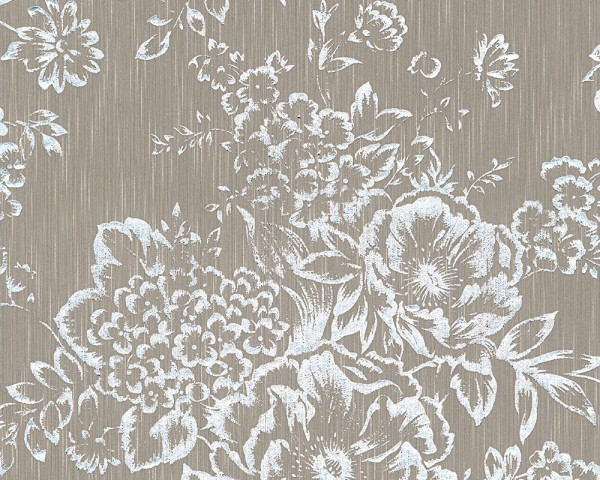 A.S. Création, Metallic Silk, # 306574, Vliestapete, grau,weiß, Blüten
