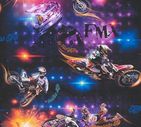 A.S. Création, Boys & Girls 6, # 306561, Kindertapete aus Papier, Motorrad, Bunt Schwarz