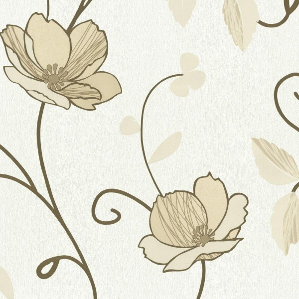 P+S Tapete 02282-50 Trésor Reloaded, Florale Muster, beige gold, scheuerbeständig, gute Lichtbeständ
