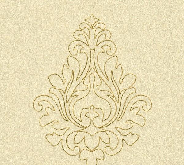 A.S. Création, Nobile, bestickte Tapete, # 969822, Vliestapete, Gelb Metallic, 3,20 m x 0,70 m
