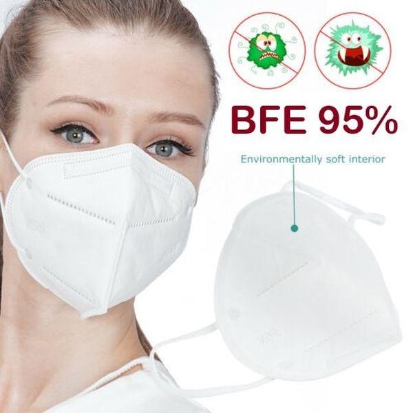 FFP2 Atemschutzmaske BFE 95 % Vierenschutzmaske 5 Stück faltbar