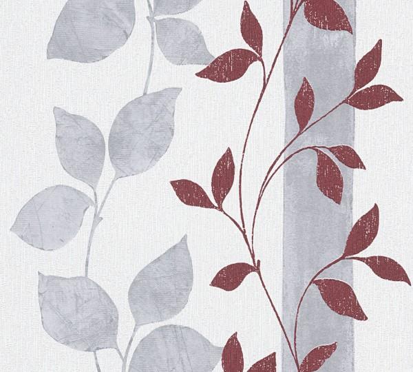 A.S. Création, Best of Vlies, # 300925, Vliestapete, Grau Rot, Blätter
