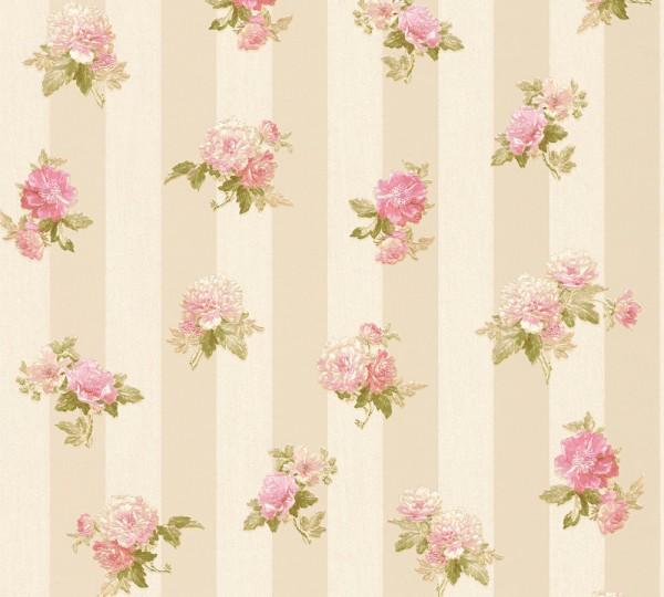 A.S. Création, Romantica 3, # 304474, Vliestapete, Blumen, Creme Grau Rosa