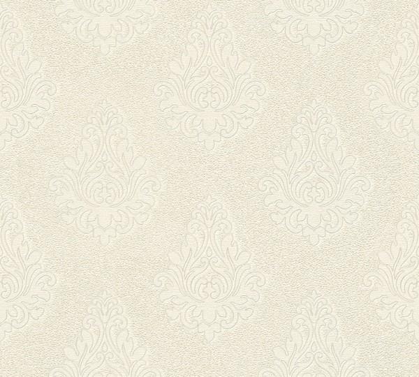 A.S. Création, Nobile, # 959812, Vliestapete, Creme Metallic Weiß, 10,05 m x 0,70 m