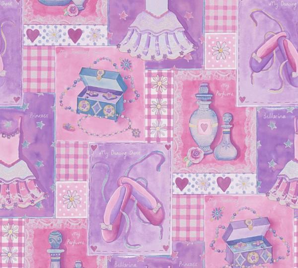 A.S. Création, Boys & Girls 6, # 305971, Kindertapete aus Papier, Bunt Rosa Lila