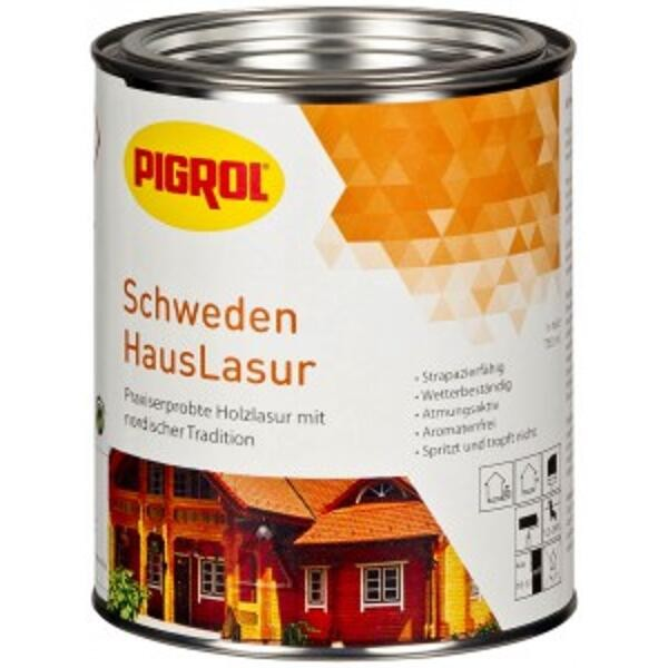 Pigrol SchwedenHausLasur polarweiß 5 Liter