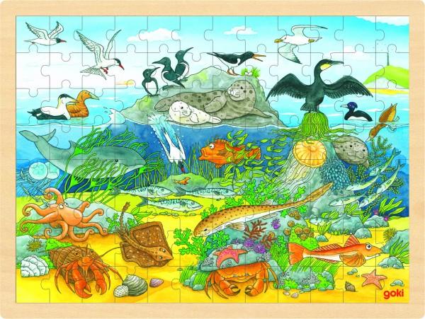 GOKI Einlegepuzzle Über und unter Wasser