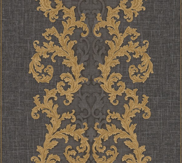 A.S. Création, Versace 2, # 962326, Vliestapete, Grau Metallic Schwarz, 10,05 m x 0,70 m