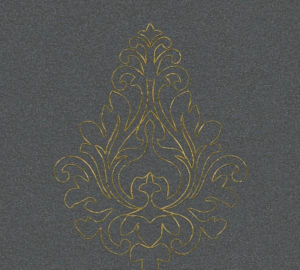 A.S. Création, Nobile, bestickte Tapete, # 969824, Vliestapete, Grau Metallic, 3,20 m x 0,70 m