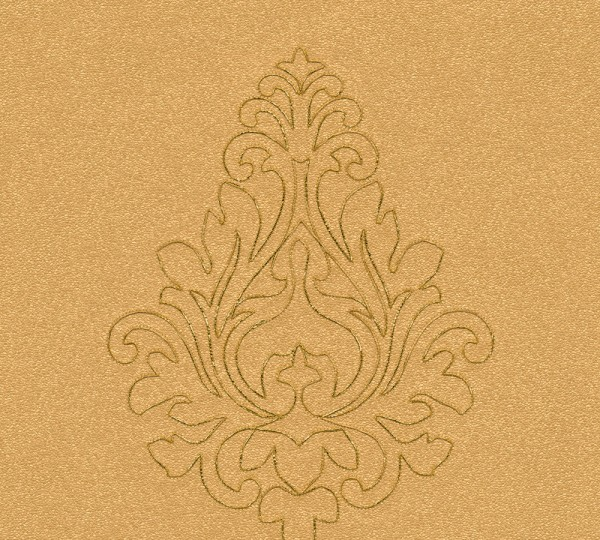 A.S. Création, Nobile, bestickte Tapete, # 969823, Vliestapete, Gelb Metallic Orange, 3,20 m x 0,70