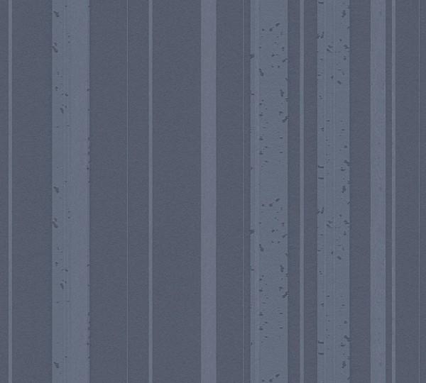 A.S. Création, New Look, # 327695, Vliestapete, Streifen, Blau Grau Metallic