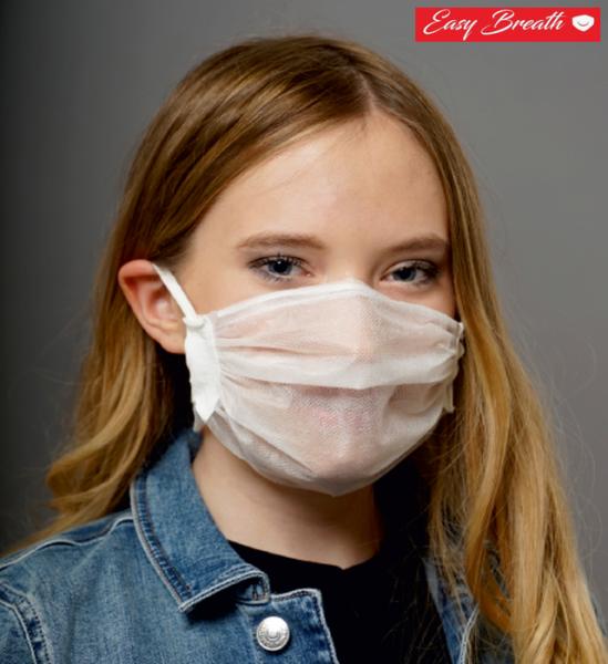 Easy Breath Mund-Nasen-Maske (4 Stück), atmungsaktiv, waschbar, mit Bügel