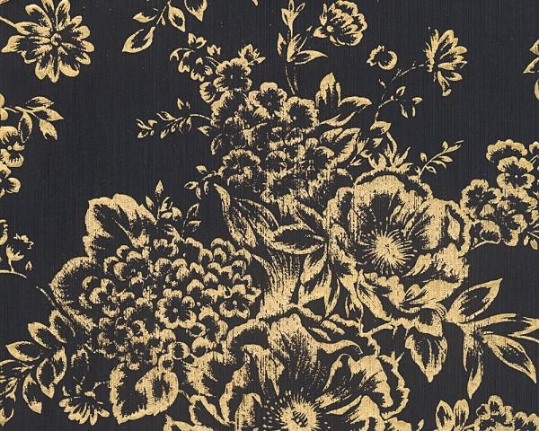 A.S. Création, Metallic Silk, # 306577, Vliestapete, Schwarz Metallic, Blüten
