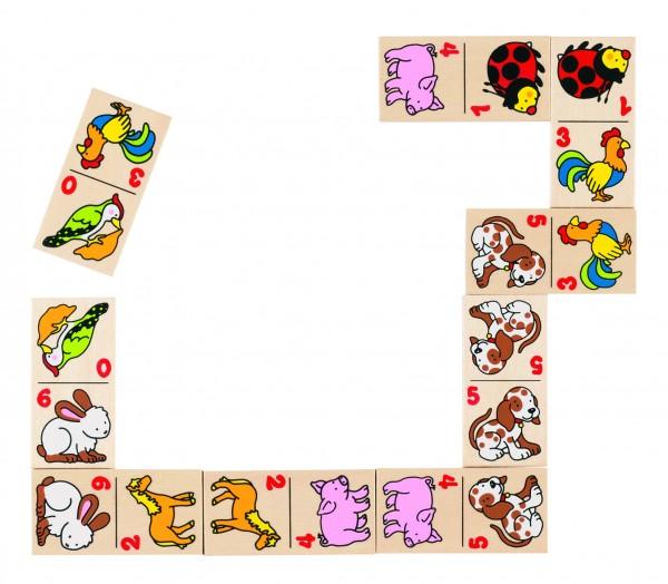 Dominospiel Tiermotive im Holzkasten