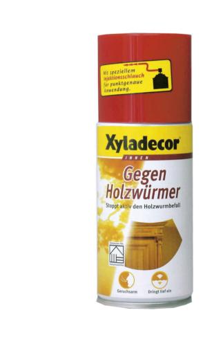"Xyladecor - ""Gegen Holzwürmer"" 250ml Dose schützt, bekämpft, überstreichbar, Stoppt Neubefall"