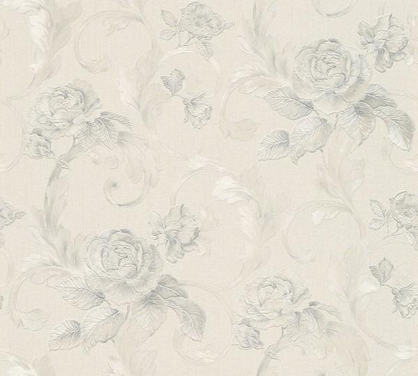 A.S. Création, Nobile, # 959834, Vliestapete, Grau Metallic Weiß, 10,05 m x 0,70 m