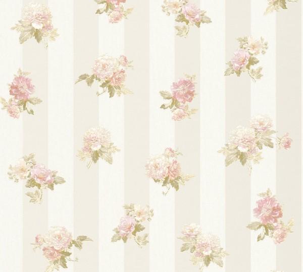 A.S. Création, Romantica 3, # 304471, Vliestapete, Blüten, Creme Grau Rosa