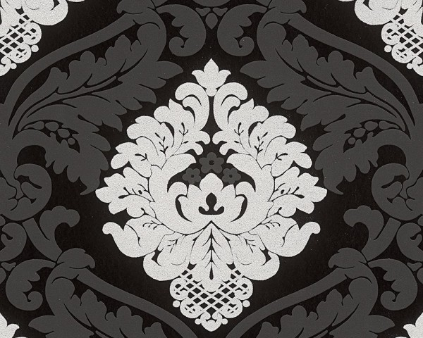 A.S. Création Tapete, Bling Bling, # 313959 , Neobarock, schwarz,solber, 10,05m x 0,53m