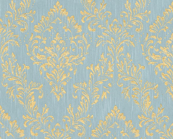 A.S. Création, Metallic Silk, # 306595, Vliestapete, Blau Grün Metallic