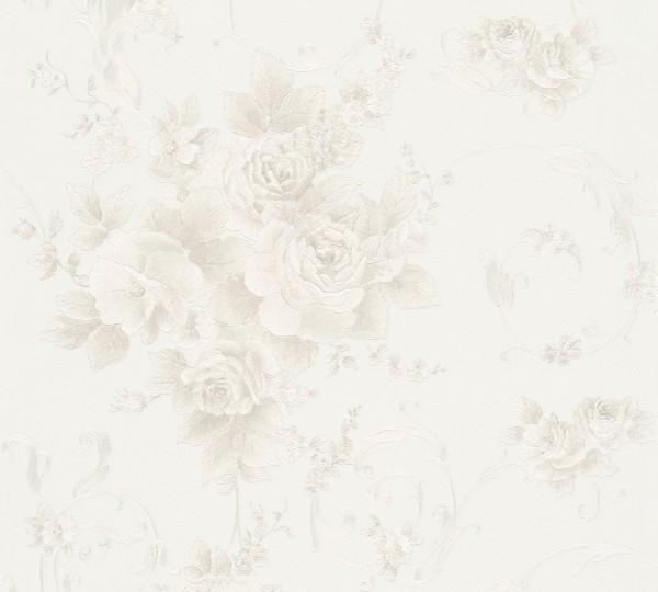 A.S. Création, Romantica 3, # 306472, Vliestapete, pastell,Blüten, Grau Grün Weiß
